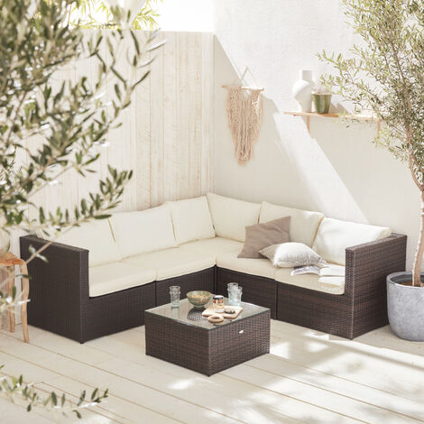 5-seater rattan garden furniture sofa set table, brown weave, off-white cushions. Ready assembled