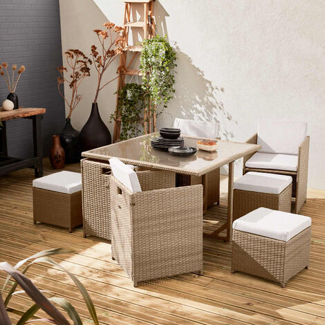 8-seater table set - Vabo - Beige rattan, beige cushions, rattan cube set