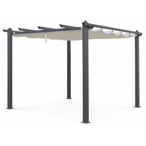 Condate: Aluminium pergola 3x3m with sliding retractable canopy, off-white