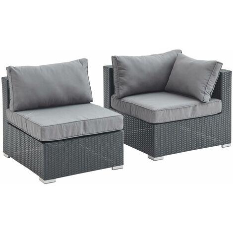 Rattan sofa set - Brescia - 1 corner armchair + 1 chair - Black rattan, grey cushions