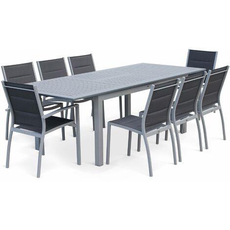 Extending 175/245cm aluminium and textilene garden table – 8 seats