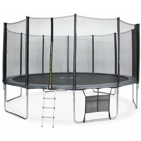 16ft Trampoline with Safety Net & Accessories Kit - Grey - PRO Quality EU Standards