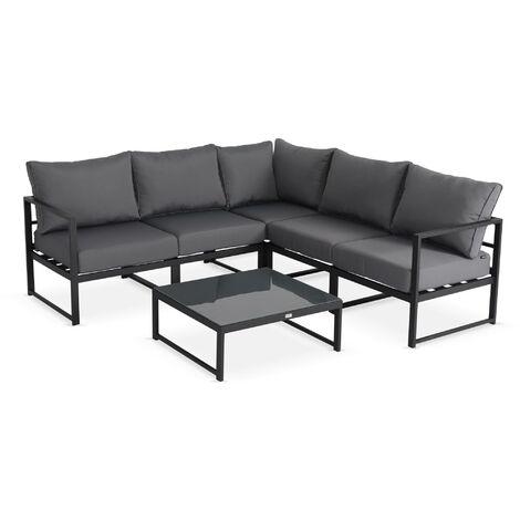 5-seater garden corner sofa set - Anthracite and Grey Stratum - 6 pieces in aluminium, thick cushions, adjustable design