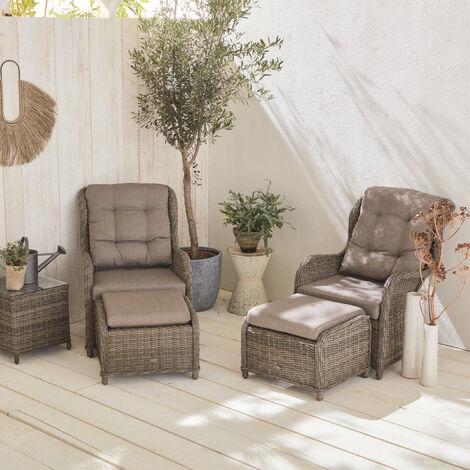 Barletta - super comfort 5-piece set - Grey Rounded polyrattan - Beige Cushions