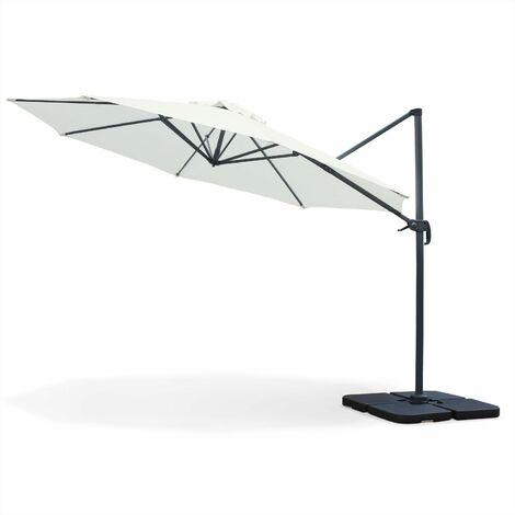 Ø 350cm octagonal cantilever parasol - Biscarosse - Off-White - Cantilever parasol, tiltable, foldable and rotates 360°.