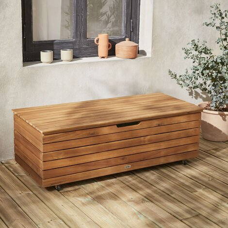 Garden storage box in wood - Saragosse - 110L, cushion storage, 107x48.5cm with hydraulic lift opening and casters