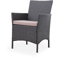 Rattan garden set - Moltès - Chocolate, Brown cushions - 4-seater - 1 sofa, 2 armchairs and 1 coffee table