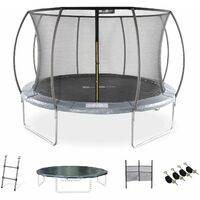 12ft Trampoline with accessories kit - Ø370 cm - Saturn Inner - New Design - Garden trampoline with curved tubes 3.7 m |Quality PRO. | EU standards.