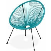 2 Egg designer string chairs with side table - Acapulco Turquoise - Set of 2 PVC designer string chairs, with coffee table included