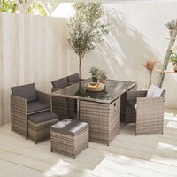 10-seater table set - Vabo - Mixed grey with heather grey cushions, rattan cube set