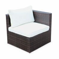 5-seater rattan garden furniture sofa set table, brown weave wicker, off white cushions. Aluminium frame. Ready assembled