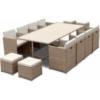 12-seater table set - Vabo - Beige rattan, beige cushions, rattan cube set