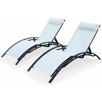 2 Aluminium and textilene sun loungers reclining garden chair sun lounger recliner, anthracite / white