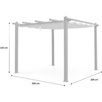 Condate: Aluminium pergola 3x3m with sliding retractable canopy, grey
