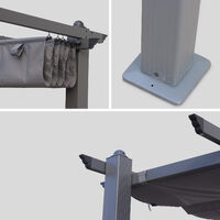 Condate: Aluminium pergola 3x4m with sliding retractable canopy, grey