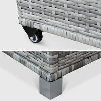 CASSAPANCA rattan garden storage box with handle and wheels, mixed grey