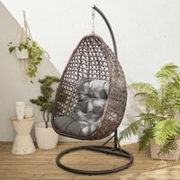 Hanging chair - Egg chair - Hanging love seat in brown rattan with thick grey cushion, retro egg chair, hammock chair