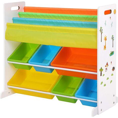 Estantería Infantil para Juguetes y Libros, Librería de 3 Niveles con 6 Cajones, 86 x 27 x 78 cm GKR03W - Blanco
