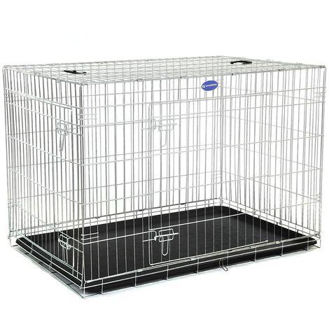 FEANDREA Jaula metálica para perros Transportín plegable para mascotas (XL 106 x 70 x 77.5cm) por SONGMICS PPD42W - Plata