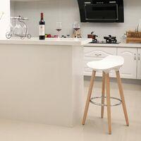 Set de 2 Taburetes de Bar con Patas de Madera de Haya Asiento de Plástico ABS Altura de 73cm para Bar Cocina Comedor Bistro LJB20W - Blanco