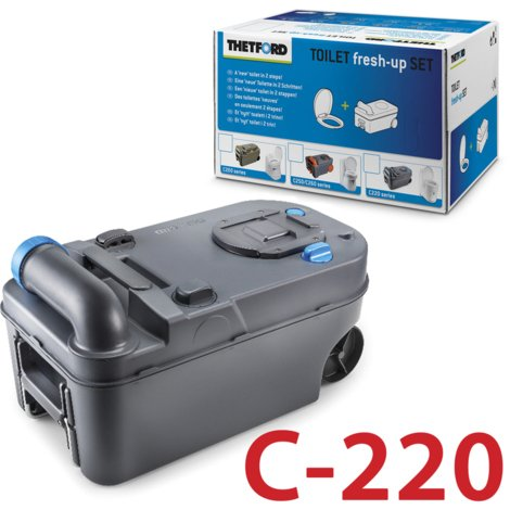 THETFORD FRESH UP SET C220 CASSETTE CAMPING ABWASSER FÄKALIENTANK TOILETTE 220
