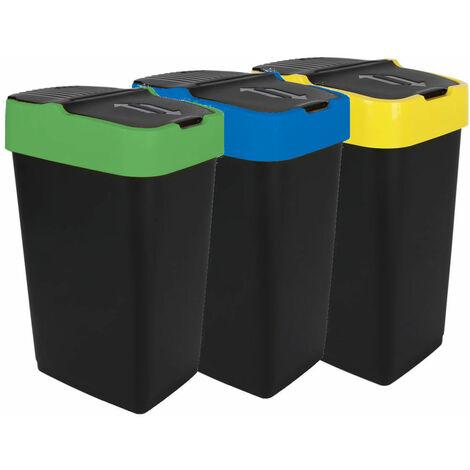 3.03 Abfalleimer mit Schwingdeckel - 3er Set - 35 Liter - jede Farbe 1x