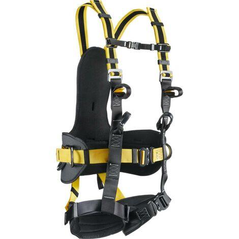Imbracatura anticaduta c/punto di ancoraggio dorsale+sternale, cintura di posizionamento+cosciali di sostegno, bretelle elastiche