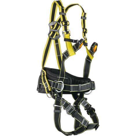 Imbracatura anticaduta con punto d'ancoraggio dorsale+sternale+cintura di posizionamento. Completa di moschettone. Bretelle elastiche