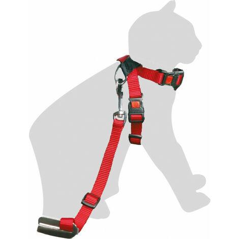 Imbracatura di sicurezza + guinzaglio. Rosso. 15 mm. per i gatti.