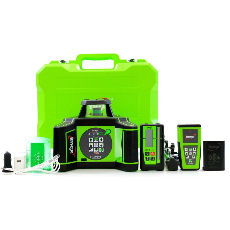Image of Imex I88G Green Rotating Laser Level Kit with Tripod and Staff