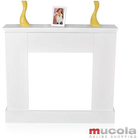 Imitation de cheminée, console de cheminée en bois, bordure cheminée, accessoires de cheminée blanc