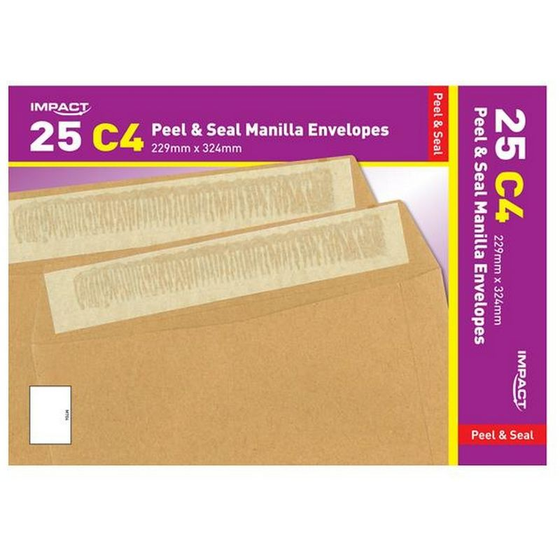 Image of C4 Peel And Seal Manilla Envelopes (Pack Of 25) (324mm x 229mm) (Brown) - Impact