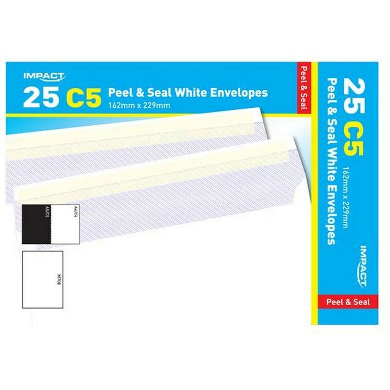 Image of C5 Peel & Seal White Envelopes (Pack Of 25) (229mm x 162mm) (White) - Impact