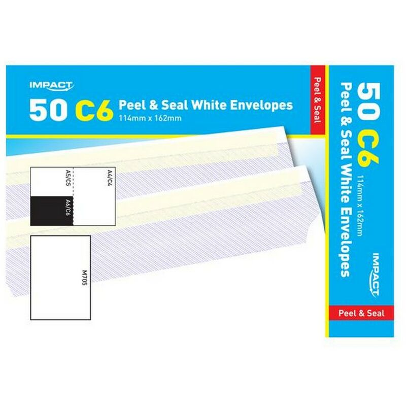 Image of C6 Peel & Seal White Envelopes (Pack Of 50) (114mm x 162mm) (White) - Impact