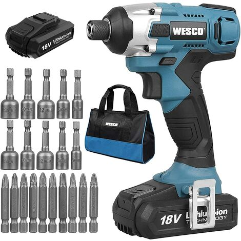 """main image of """"Impact Driver, WESCO 18V 2.0Ah 110Nm Cordless Impact Drill with 20pcs Accessories, Variable Speed, 2 Gear (0-2600/min, 0-3400bpm), 1/4"""" All-Metal Hex Chuck, Battery and Fast Charger/WS2318.1"""""""