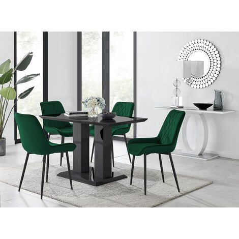 """main image of """"Imperia 4 Black Dining Table and 4 Pesaro Black Leg Chairs"""""""