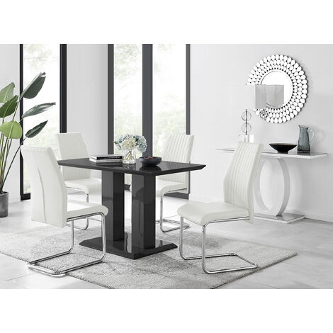 Fine Imperia 4 Modern Black High Gloss Dining Table And 4 White Caraccident5 Cool Chair Designs And Ideas Caraccident5Info