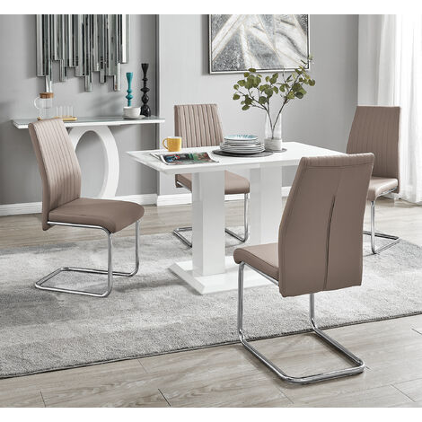 Furniturebox Uk Imperia Modern White High Gloss Dining Table And 4 Lorenzo Chrome Leather Dining Chairs Set Dining Table 4 Cappuccino Grey Lorenzo Dining Room Furniture Dining Room Sets