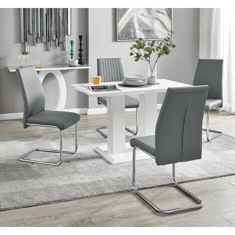 Imperia 4 Modern White High Gloss Dining Table And 4 Elephant Grey Lorenzo Chrome Dining Chairs Set