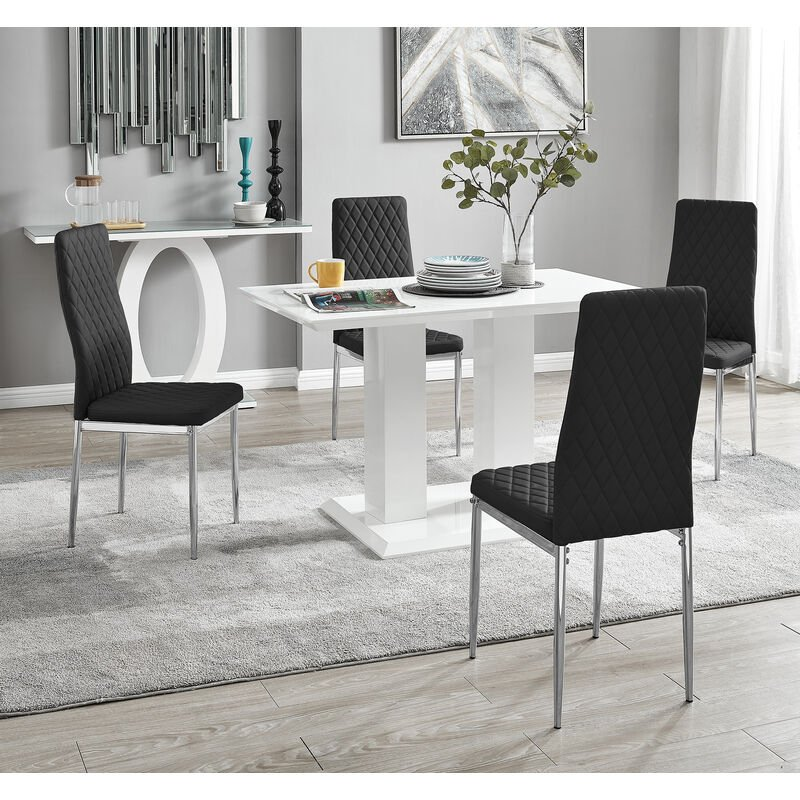 Imperia 4 Modern White High Gloss Dining Table And 4 Black Milan Chairs Set Imp 4 Wht 4 Blk Mil