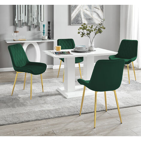 """main image of """"Imperia 4 White Dining Table and 4 Pesaro Gold Leg Chairs"""""""
