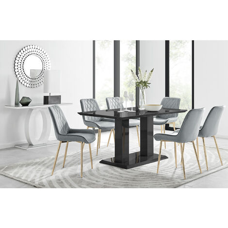 """main image of """"Imperia 6 Black Dining Table and 6 Pesaro Gold Leg Chairs"""""""