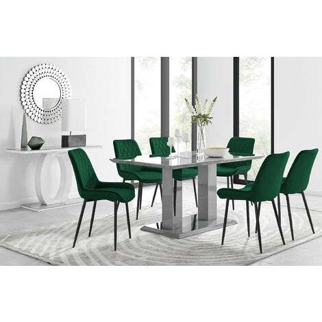 """main image of """"Imperia 6 Grey Dining Table and 6 Pesaro Black Leg Chairs"""""""