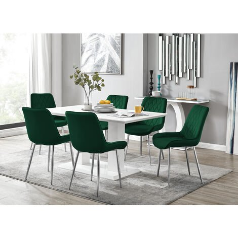 """main image of """"Imperia 6 White Dining Table and 6 Pesaro Silver Leg Chairs"""""""