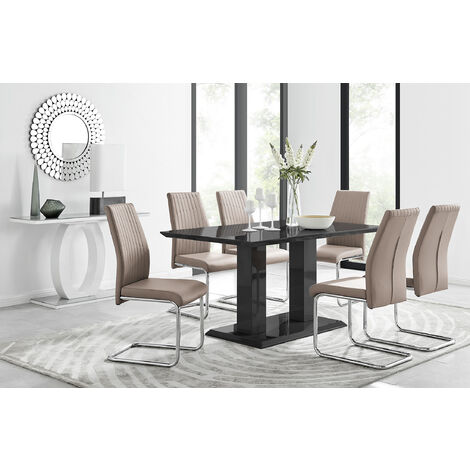 Imperia Black High Gloss Dining Table And 6 Modern Lorenzo Dining Chairs Set