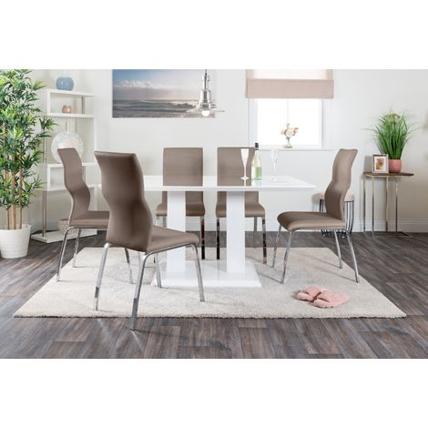 Imperia White High Gloss Dining Table And 6 Cappuccino ...