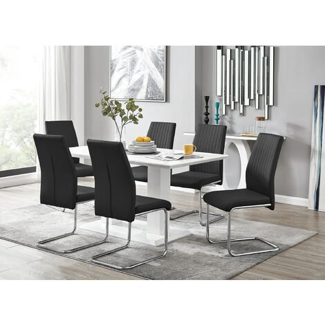 Pleasant Imperia White High Gloss Dining Table And 6 Black Lorenzo Caraccident5 Cool Chair Designs And Ideas Caraccident5Info