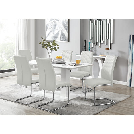 Imperia White High Gloss Dining Table And 6 White Lorenzo ...