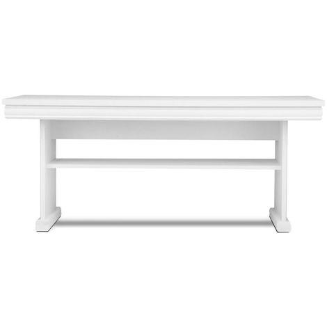 IMPERIO - Table basse salon/séjour style classique - 125x53x65 cm - Avec étagère - Plateau épais - Table d'appoint - Blanc