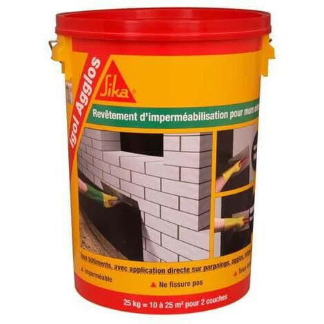 Impermeabilización de los cimientos de bloques de hormigón - Aglomerado de igolinas SIKA - Negro - 25kg